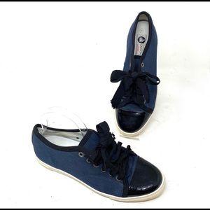 Lanvin denim cap toe low top sneakers 10 D2